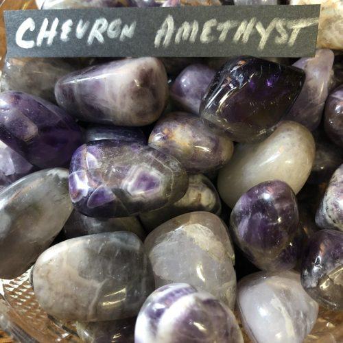 chevron ameythst tumbled stone