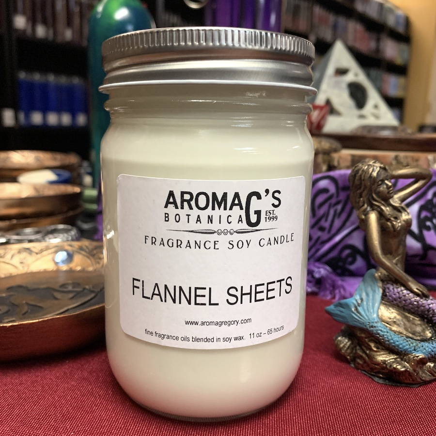 flannel sheets soy candle