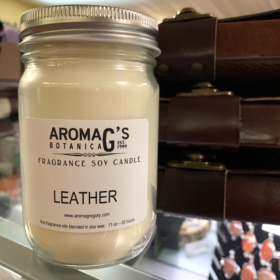 leather soy candle