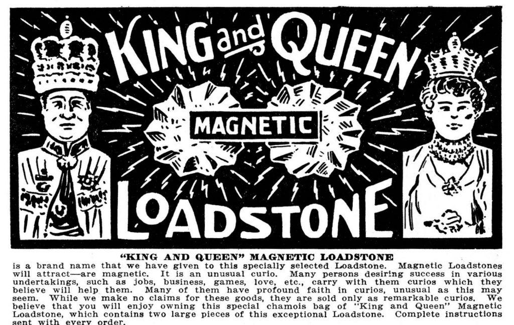 vintage ad for Lodestones, used often in hoodoo